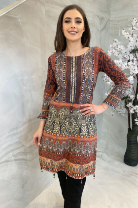 Digital printed lawn kurti in black multi