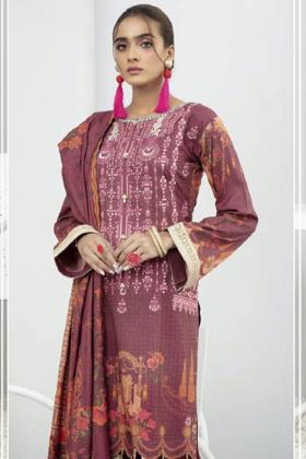 Three piece winter fantasy dhanak suit in dark pink