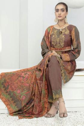 Three piece luxury dhanak suit in brown