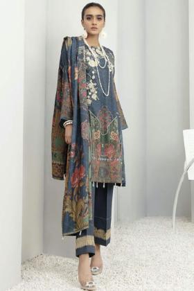 Three piece modernity dhanak suit in blue