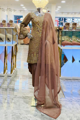 Tea pink gold tila work modern punjabi trouser suit
