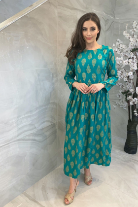 Ethnic green lawn block printed kurta for Eid 2021