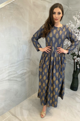 Ethnic grey lawn block printed kurta for Eid 2021