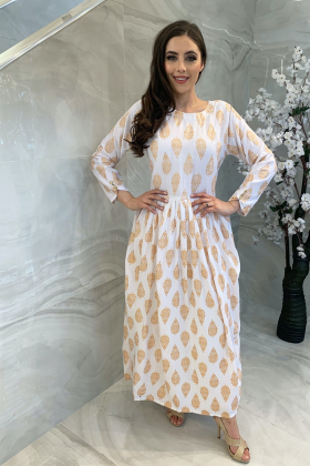 Ethnic lawn printed kurta in white