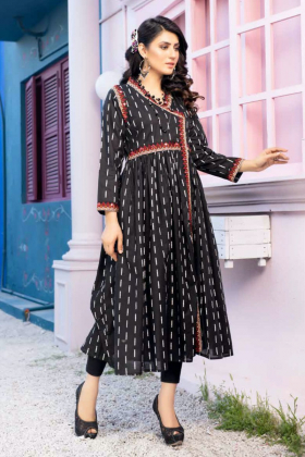 Ethnic beautiful lawn printed kurta in black