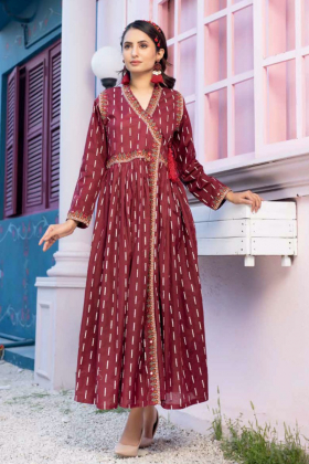 Ethnic beautiful lawn printed kurta in maroon