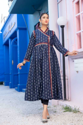 Ethnic beautiful lawn printed kurta in navy