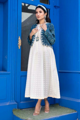 Ethnic lawn white kurta with turquoise printed jacket