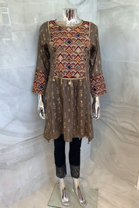 Ethnic casual lawn embroidered peplum dress