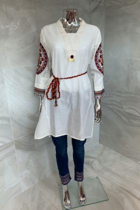 Casual peplum lawn kurti in white