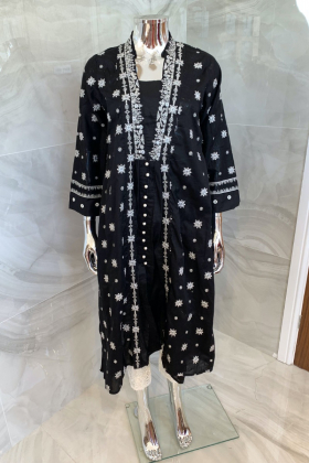 Ethnic casual lawn embroidered kurti in black