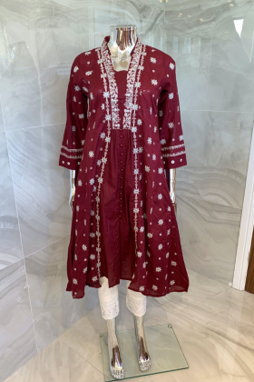 Ethnic casual lawn embroidered kurti in maroon