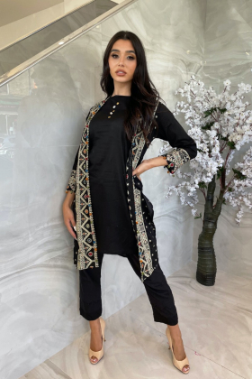 Beautiful Ethnic lawn casual embroidered jacket style kurti in black