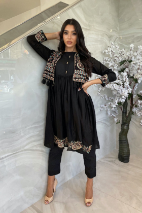 Ethnic lawn black kurti with a short embroidered jacket