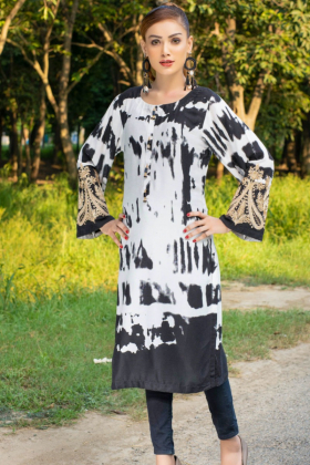 Light weight casual printed black kurti