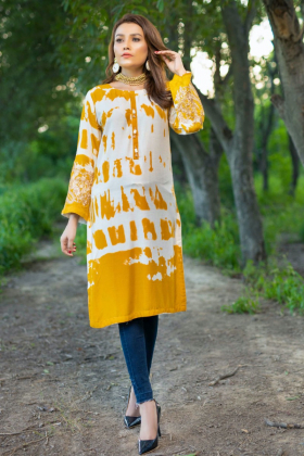 Light weight casual printed kurti in white and mustard
