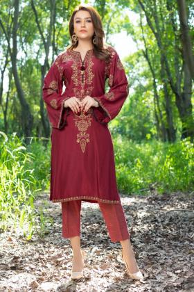 Casual luxury embroidered kurti in maroon