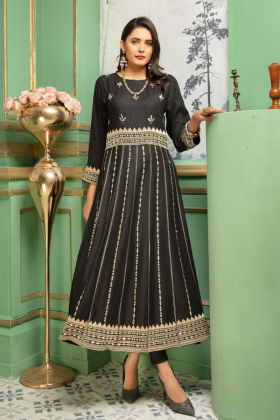 Ethnic black linen mirror work embroidered kurti