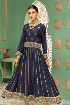 Ethnic navy linen mirror work embroidered kurti