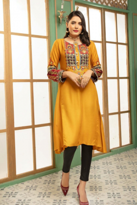 Ethnic linen mustard embroidered kurta