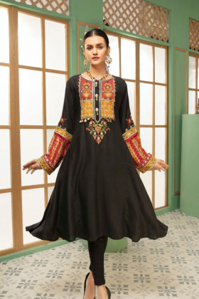 Ethnic linen black embroidered kurta