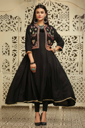 Ethnic black frock style kurti with embroidery waistcoat
