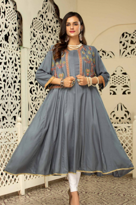 Ethnic frock grey kurti with an embroidered waistcoat