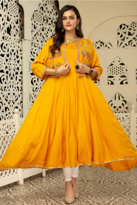 Ethnic frock mustard kurti with an embroidered waistcoat