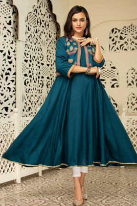 Ethnic frock teal kurti with an embroidered waistcoat
