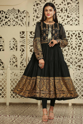 Digital printed black ethnic long kurta
