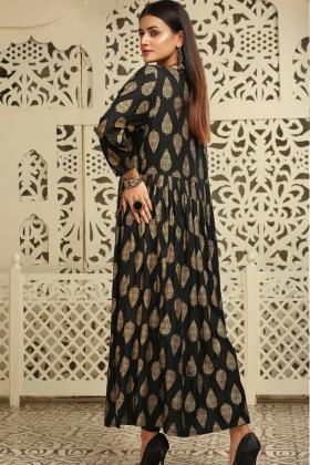 Ethnic black linen printed kurta
