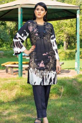 Ethnic black casual linen embroidered kurti