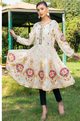 Ethnic casual linen embroidered kurti in cream