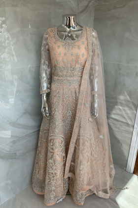 Luxury embroidered net long gown in peach