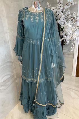 3 Piece chiffon embroidered gharara suit in dark sea green