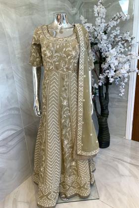 3 Piece chiffon embroidered longdress in khakhi