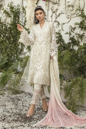 3 piece, off white organza net suit