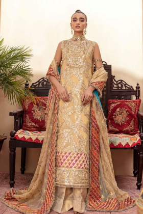 Freesia premium chiffon embroidered 3 piece suit in gold