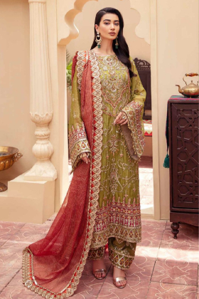 Freesia premium net embroidered 3 piece suit in green