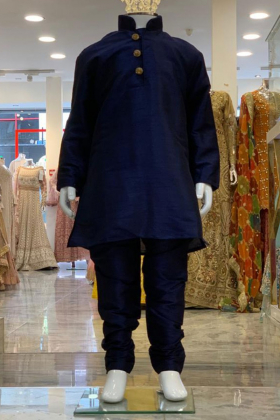 Navy silk boys shirt and churidar trouser with gold buttons