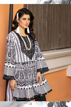 Black and white peplum style printed kurta