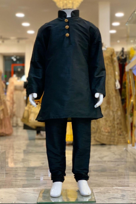 Black silk boys shirt and churidar trouser with gold buttons