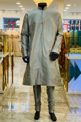 Grey Silk  Men's Dress with Silver Buttons and churidar trousers