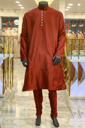 Red Silk Mens Dress  with silver buttons  and churidar trousers