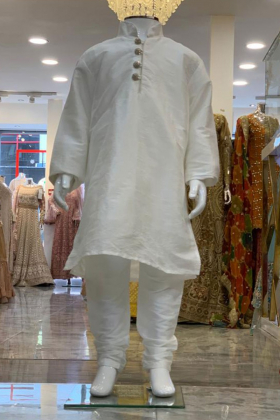 White Silk Boys Shirt and Churidar Trouser with Silver Buttons