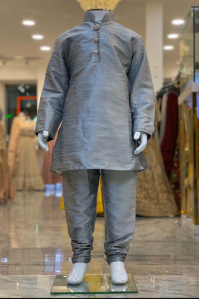 Grey Silk Boys Shirt and Churidar Trouser with Silver Buttons