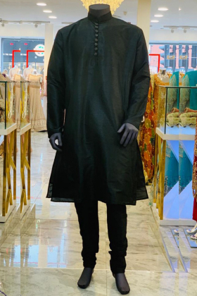 Black Silk Men's Dress with Silver Buttons  and Churidar Trousers