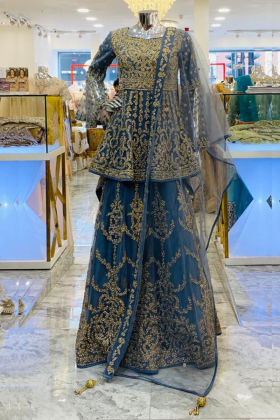 Dark grey embroidered lengha style partywear