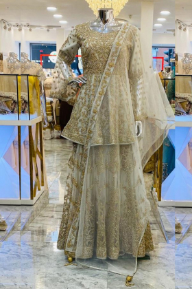 Light beige embroidered lengha style partywear
