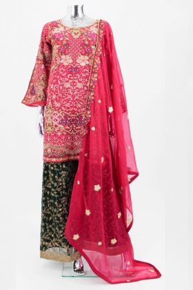 Red embroidered traditional punjabi mehndi dress